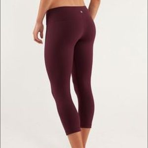 Lululemon Athletica Wunder Under Crops Wine Red